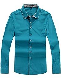 Amurleopard Slim fit chemise long manche homme Bleu Paon M