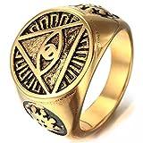 Mendino Anello dorato per uomo con simbolo occhio dentro una piramide in acciaio inossidabile con custodia e Acciaio inossidabile, 30, cod. JRG0091GD-9 UK