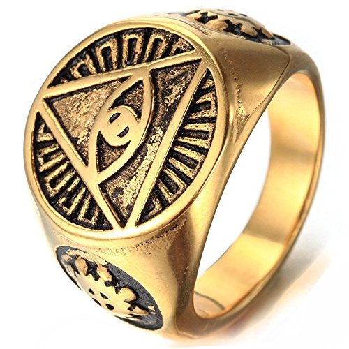 Mendino da uomo triangolo piramide occhio con anello in acciaio inox color oro simbolo marche pouch, acciaio inossidabile, 22, cod. jrg0091gd-6 uk