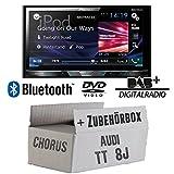 Audi TT 8J Chorus - Pioneer AVH-X5800DAB - 2DIN Multimedia Autoradio inkl. DAB Antenne - Einbauset