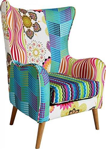 Arm Lehnstuhl Stoff gemustert Sitz Polster Patchwork Ohren Sessel mehrfarbig Holz Füße BHP B412350