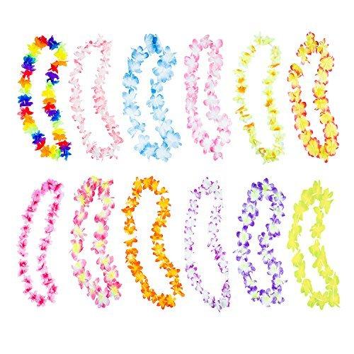 Super Z Outlet Hawaiianische Rüschen künstliche Bunte Luau-Seide Blumen Leis Halsketten für Tropische Inseln, Strand, Motto-Party, Event, Geburtstagszubehör, Kostüm, 50 Stück