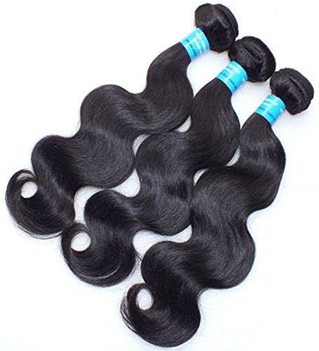 NuoYa 005 Lot de 3 Paquets de 100% de cheveux humains vierges 5A péruvien vague de corps Cheveux extension Noir - 16 cm, 18 cm, 20 cm