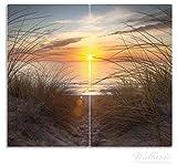 Wallario Herdabdeckplatte / Spritzschutz aus Glas, 2-teilig, 60x52cm, für Ceran- und Induktionsherde, Sonnenuntergang am Strand
