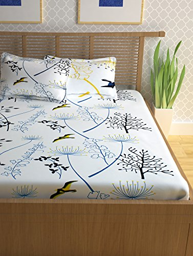 Story@Home Forever 240 TC Cotton Double Bedsheet with 2 Pillow Covers - White