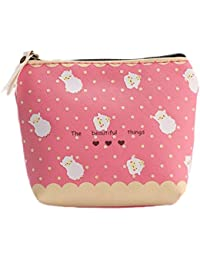 Qinlee Woman Lady Mini Coin Purse Zipper Wallet Key Holder Wallet Small Canvas Sheep Wallet Pouches