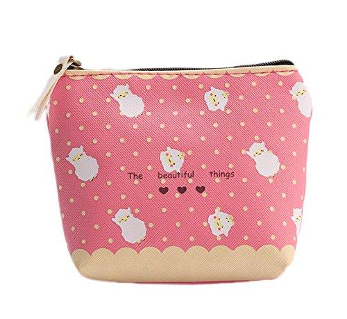 LAAT Lovely PU Lamm Muster Wallet Korean Version Zipper Geld Geldbörse Kleine Kosmetik Tasche für weibliche frische Süßigkeiten Farbe Mädchen Mini Coin Tasche 3 * 11CM -