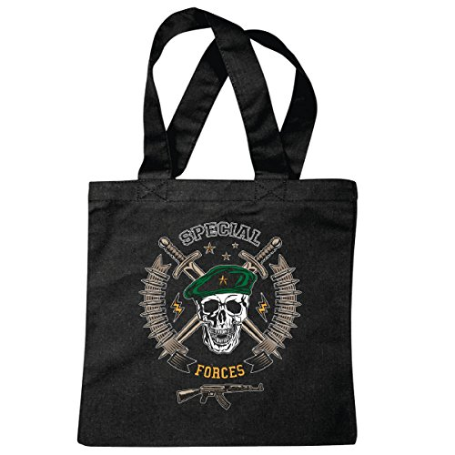 Tasche Umhängetasche Skull Face Mask Military - US Army - Militär - Rocker - Biker - Gothic - Zivildienst - Wehrdienst Einkaufstasche Schulbeutel Turnbeutel in Schwarz