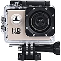 Sport Camera, Rcool Mini 1080P Full HD DV Digital Sport Recorder Waterproof Action Camera Camcorder with Mounting Accessories Kits for Bike Motorcycle Surfing Diving Swimming Skiing etc (Gold)