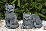 Statue en pierre lot de 2 chats, gris ardoise, pierre reconstituée