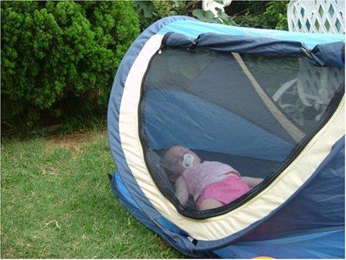Deryan Reisebett/Travel-cot Peuter Reisebettzelt inklusive Schlafmatte, selbstaufblasbarer Luftmatratze und Tragetasche mit Pop-Up innerhalb 2 Sekunden aufgebaut, blue