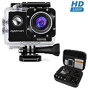 APEMAN Sports Action Camera 12MP Full HD 1080p Action Cam Wasserdichte Action Kamera Helmkamera mit Transporttasche und Zubehör Kit