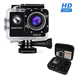 APEMAN Action Camera Action Sport Waterproof Cam 1080P 12MP Full HD 170 Ultra Wide-Angle Lens with Portable Package Case and Kit of Accessories