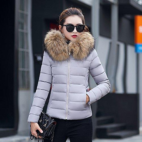 BAINASIQI Donna Elegante Giacca invernale Corta trapuntata da donna Piumino Giacca con Cappuccio Calda Cappotti Grigio
