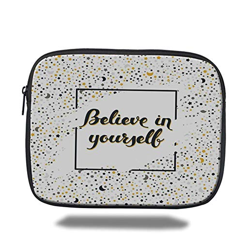 air 2/3/4/mini 9.7 inch,Inspirational,Artistic Frame with Motivational Phrase Moons Stars Calligraphy,Black Marigold White ()
