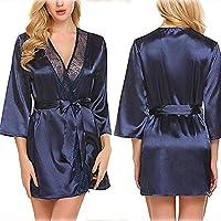 Ronshin Sleepwear Women Sexy Lace Lingerie Deep V Underwear Night-robe blue S