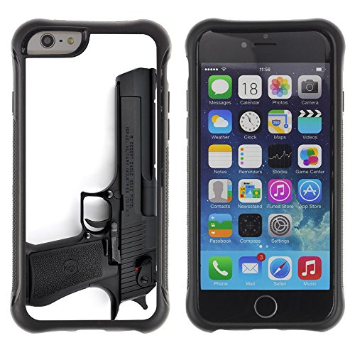 Graphic4You Schwarz Desert Eagle Pistole Feuerwaffe Design Shockproof Anti-Rutsch Weichen Hülle Case Tasche Schutzhülle für Apple iPhone 6 Plus / 6S Plus Design #6