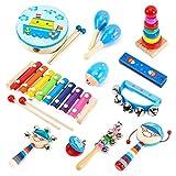 Honkid Musikinstrumente Kinder, 12 Stück Holz Percussion Set Musical Instruments Set Spielzeug, Früherziehung Musik Kinderspielzeug Schlagzeug Schlagwerk Rhythmus Band Werkzeuge für Kinder und Baby