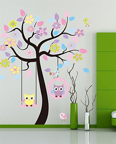 Vlunt Stickers Muraux Arbre Hibou Sticker Mural Plantes Stickers
