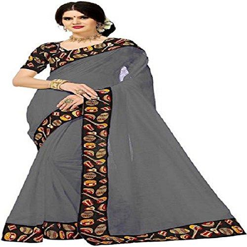 Rajeshwar Fashion Women's Cotton Saree With Blouse Piece (Tabla Yellow_Yellow)