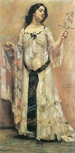 Das Museum Outlet-Portrait Of Charlotte Berend in einem weißen Kleid von Lovis-Korinth Gespannte Leinwand Galerie. 29,7x 41,9cm