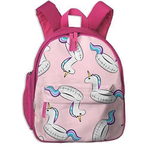 Zaino per bambini 2 anni,Unicorn Pool Float Toss (viola e blu) On Light Pink_4549 - littlearrowdesign, Per scuole per bambini Oxford panno (rosa)