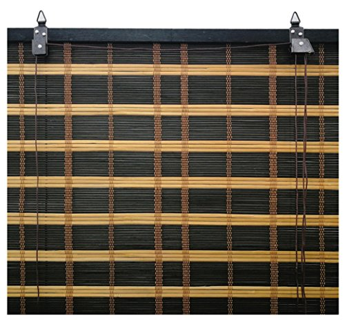 Solagua 6 Modelos 14 Medidas de estores de bambú Cortina de Madera persiana Enrollable (110 x 135 cm, Bicolor)