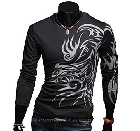 Elonglin Homme T-shirt de Loisir du Sport Dragon Tatouage Impression T-Shirt Moulant Coton Manches Longues Noir FR L (Asie 3XL)