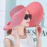 YUANBAOG Elegante Stil Sommer Große Krempe Stroh Hut Erwachsene Frauen Mädchen Mode Sonnenhut UV Schützen Großen Bogen Sommer Strand Hut , 57-60cm
