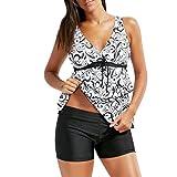 Bikini Damen Push Up LHWY Frauen Große Größen Sport oberteil Bademode Bikini Set für Mollige Gepolsterter BH Badeanzug Weiß Schwarz (3XL, Schwarz)