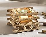 """Windlicht """"Treibholz"""" Kerzenständer Kerzenhalter Teelichthalter Holz Glas eckig"""