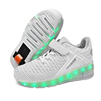 Light-Up Wheelie Trainers for Boys & Girls Wheel Heel Trainers with Wheels,Green,39