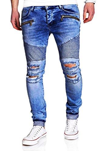MT Styles Biker Jeans Slim Fit RJ-2078 [Blau, W32/L32]