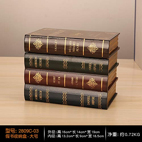 SQbjshaop Retro-Simulationsbücher im europäischen Stil, hochwertiges Display-Zubehör, kreative gefälschte Bücher, Fotografie, Requisiten, Bücherregale und Aufbewahrung, Fake Book Box - Großformat 28