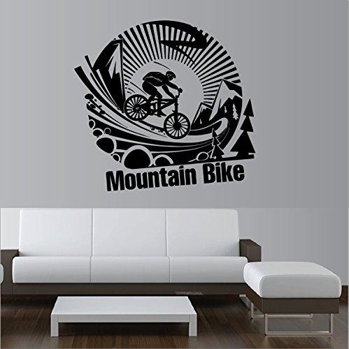 """""""Mountain Bike Down Hill """" Wandtattoo Aufkleber ca. 90 cm ,1 -farbig, hält auf allem glatten Flächent, freigestellt ohne Hintergrund, für alle glatten Flächen, Autos, Scheiben, Lack,Wand, Profi-Qualität, viele Farben zur Auswahl"""