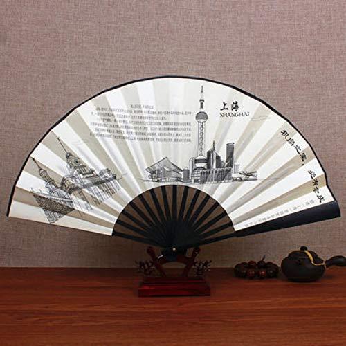XIAOHAIZI Handfächer,Sommer Bambus Fan Shanghai Landschaft Retro Chinesischen Stil Männer Geschenk Faltfächer Für Hauptwanddekoration (Shanghai Kostüm)