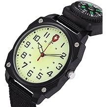 Estilo del ejército U infinita de color negro y correa de Nylon de los estudiantes adolescentes/reloj de pulsera de cuarzo de la luminosidad de la brújula para viajar/que acampa