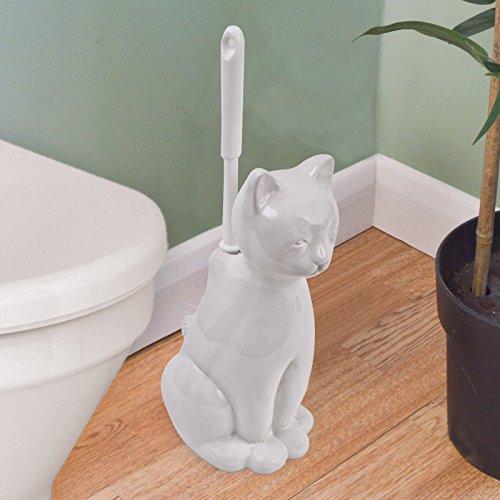 Gatto loo scopino: bianca pussycat ceramica per il bagno - scopino da bagno incluso