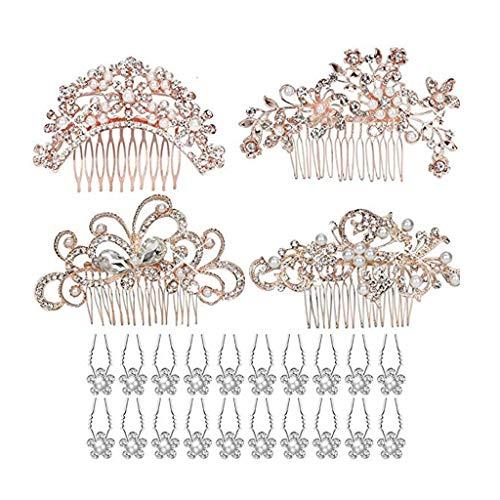 Tumao 24 Stück Handgefertigt Hochzeit Haarkämme,Damen Künstliche Perlen Kristall Haarschmuck Hochzeit Haarkämme Haarklammer Haarnadeln, Kristall, Vintage-Haarschmuck für Bräute und Brautjungfern.