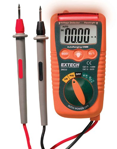 Extech DM220 Multímetro mini de bolsillo CAT IV con detector de voltaje sin contacto