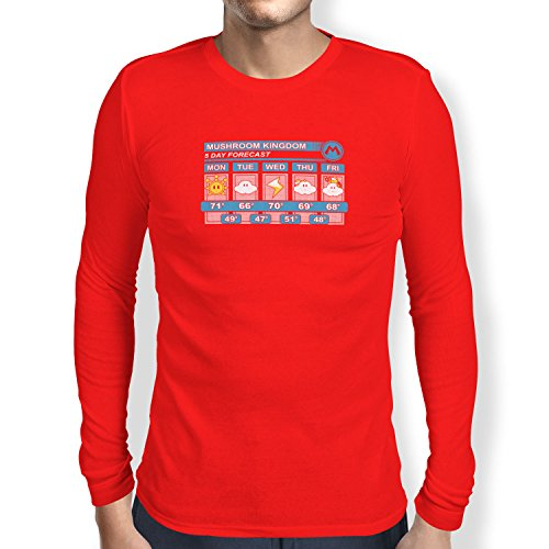 Texlab Mushroom Kingdom Weather Forecast - Herren Langarm T-Shirt, Größe M, ()