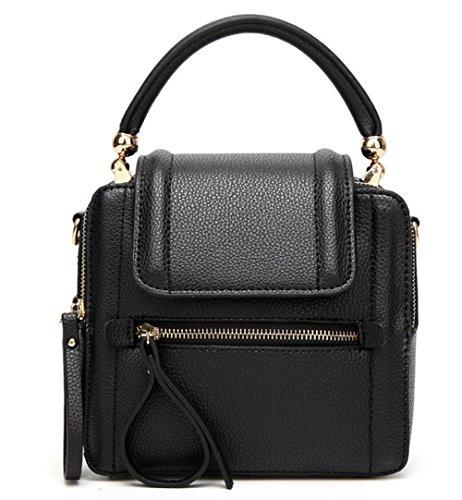 Xinmaoyuan Handtaschen der Frauen im Frühjahr und Sommer kleine Tasche Mini Messenger Bag Leder Einzel Schulter Handtasche Vintage Kalb Bag, schwarz (Kalb Leder Handtasche Schwarze)