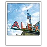 Pickmotion PolaCards Berlin: Hochwertige Polaroid Postkarten im Retro Stil - Motiv: Leuchtalex - Alex Fernsehturm