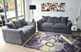 Dylan Byron Grey Fabric Jumbo Cord Sofa Settee Couch 3+2 Seater
