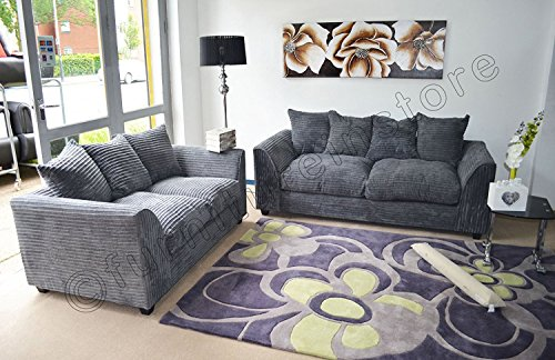 Dylan Byron Grey Fabric Jumbo Cord Sofa Settee Couch 3+2 Seater Part 96