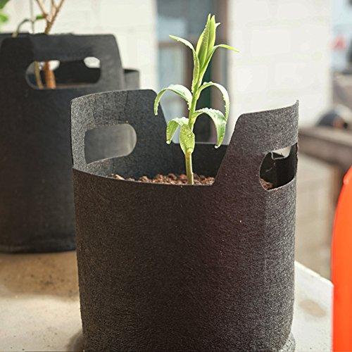 Sacs de plantation Avec poignées Tissu respirant non tissé et perméable Dégradable Noir Style B_3Gallons