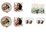 Cdc -kit n°7 festa e party Oceania - Oceania Disney- (16 piatti, 16 bicchieri, 20 tovaglioli, 1 tovaglia)