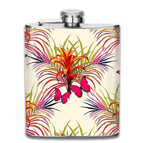Frasco de Acero Inoxidable 7OZ, Frasco de Licor de Mariposas de Flores exóticas Frescas de Hojas de Palma, frascos para Hombres y Mujeres