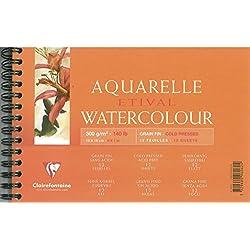 Clairefontaine 96062C Etival Aquarelle bloc spiralé 12F 12x18cm 300g grain fin Blanc