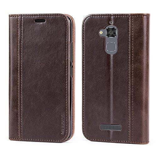 Mulbess Leder Tasche im BookStyle und 3 Kartenfach für Asus ZenFone 3 Max (ZC520TL 5.2 Zoll) Hülle Flip Case Cover,Schokolade Braun